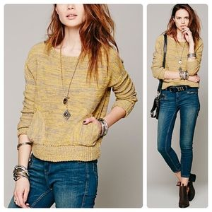 •FREE PEOPLE• Gold In My Pocket Knit Sweater